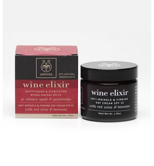 WINE ELIXIR učvršćujuća dnevna krema protiv bora SPF15 sa pčelinjim voskom i crvenim vinom